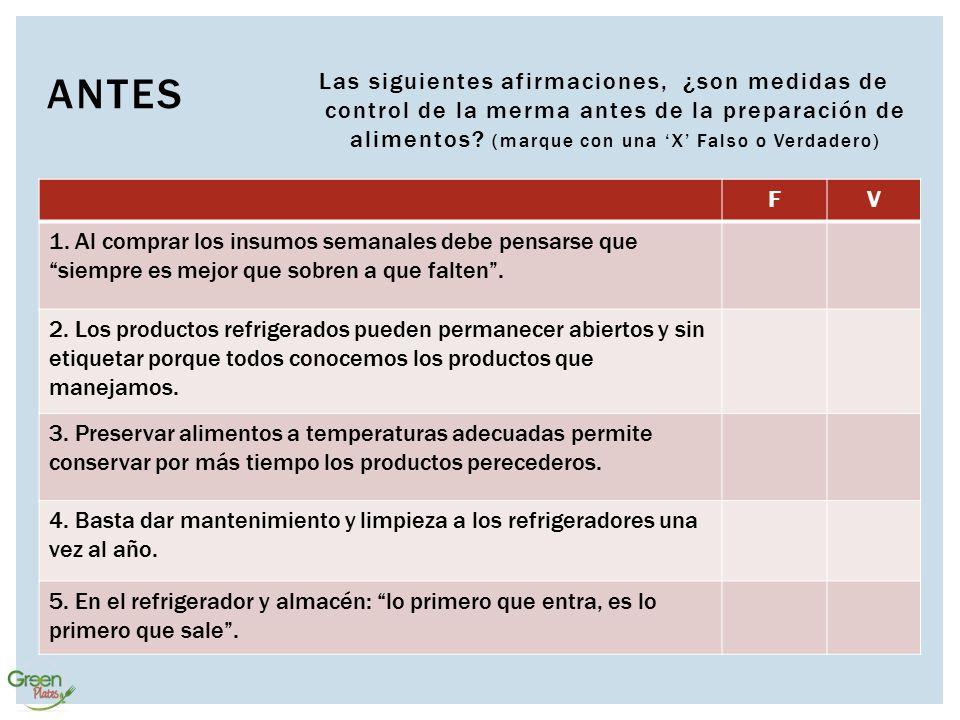 Antes Las siguientes afirmaciones, ¿son medidas de control de la merma antes de la preparación de alimentos (marque con una 'X' Falso o Verdadero)