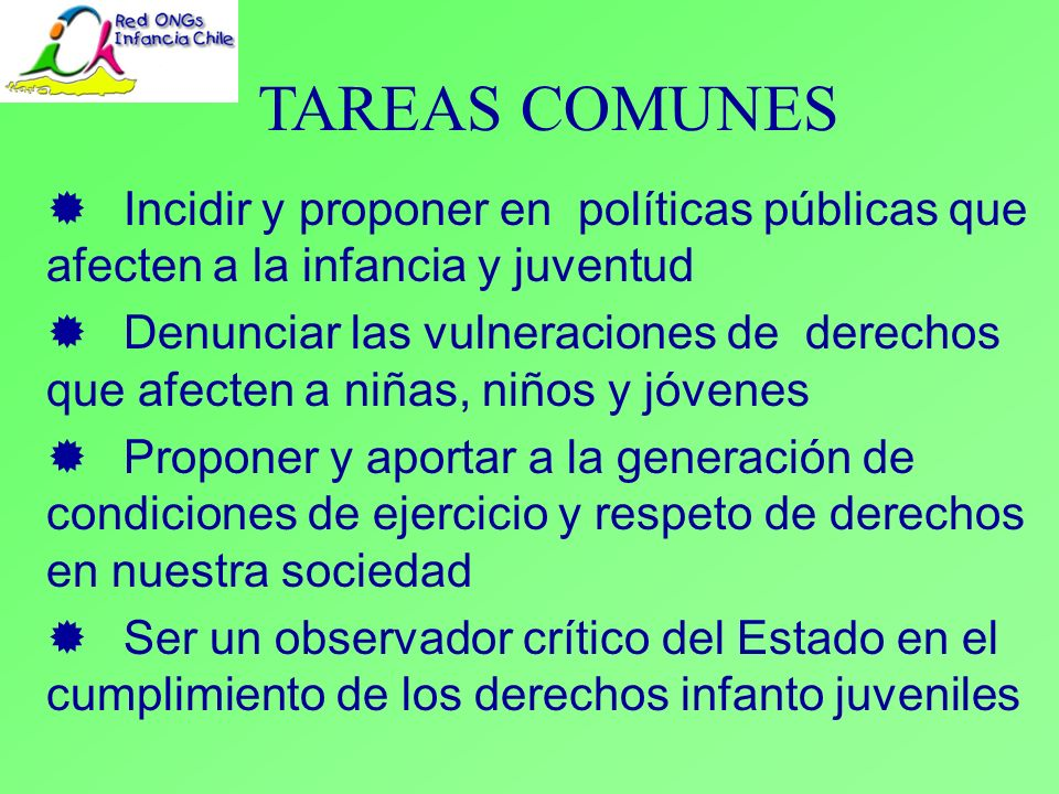 TAREAS COMUNES ® Incidir y proponer en políticas públicas que afecten a la infancia y juventud.