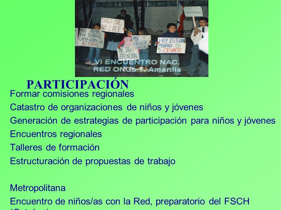 PARTICIPACIÓN Formar comisiones regionales