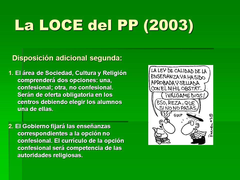 La LOCE del PP (2003) Disposición adicional segunda:
