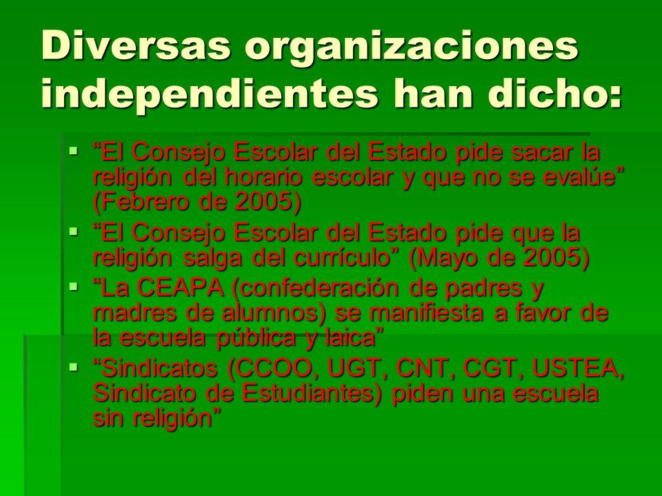 Diversas organizaciones independientes han dicho: