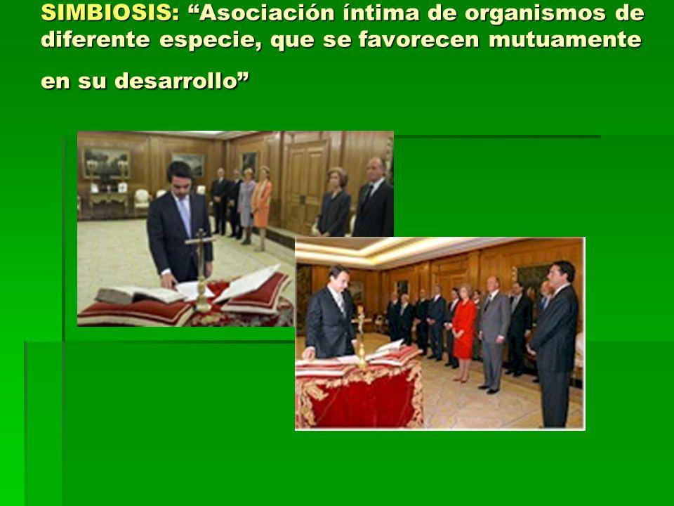 SIMBIOSIS: Asociación íntima de organismos de diferente especie, que se favorecen mutuamente en su desarrollo