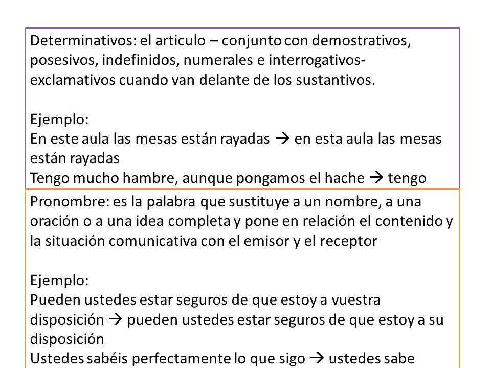 Determinativos: el articulo – conjunto con demostrativos, posesivos, indefinidos, numerales e interrogativos- exclamativos cuando van delante de los sustantivos.