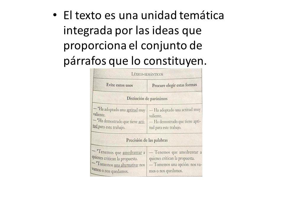 El texto es una unidad temática integrada por las ideas que proporciona el conjunto de párrafos que lo constituyen.