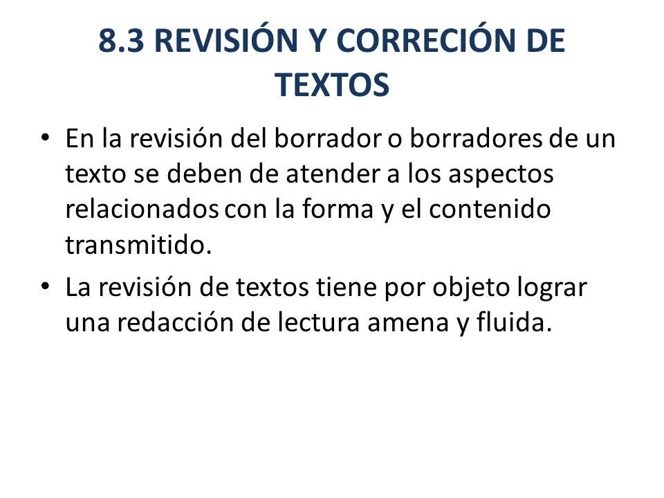 8.3 REVISIÓN Y CORRECIÓN DE TEXTOS