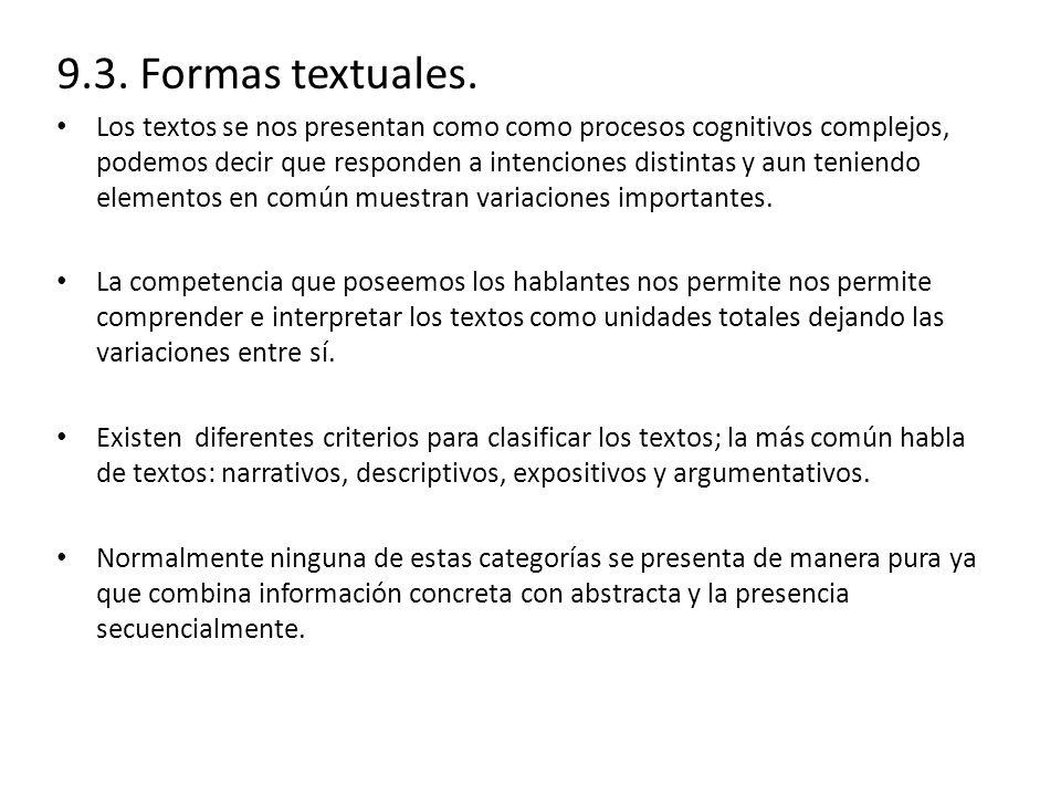 9.3. Formas textuales.