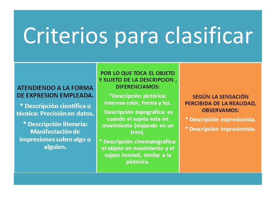 Criterios para clasificar