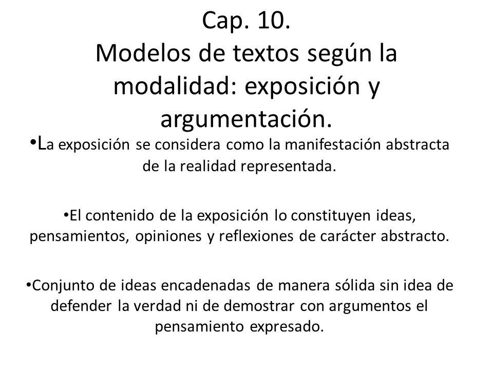 Cap. 10. Modelos de textos según la modalidad: exposición y argumentación.