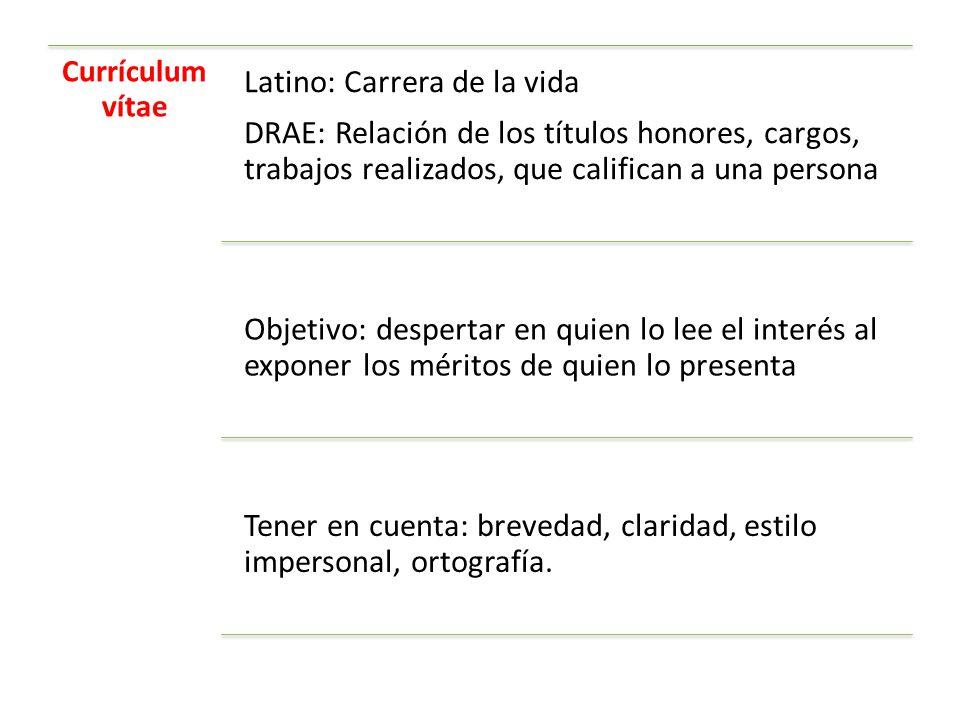 Currículum vítae DRAE: Relación de los títulos honores, cargos, trabajos realizados, que califican a una persona.