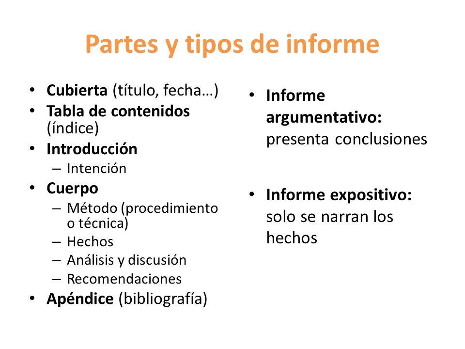Partes y tipos de informe