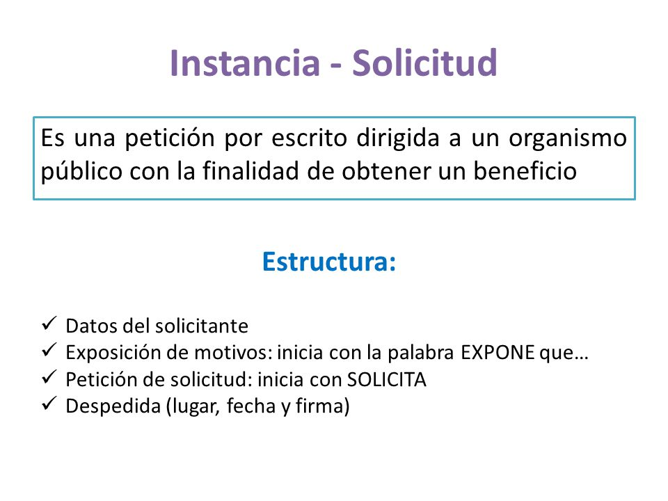 Instancia - Solicitud Estructura: