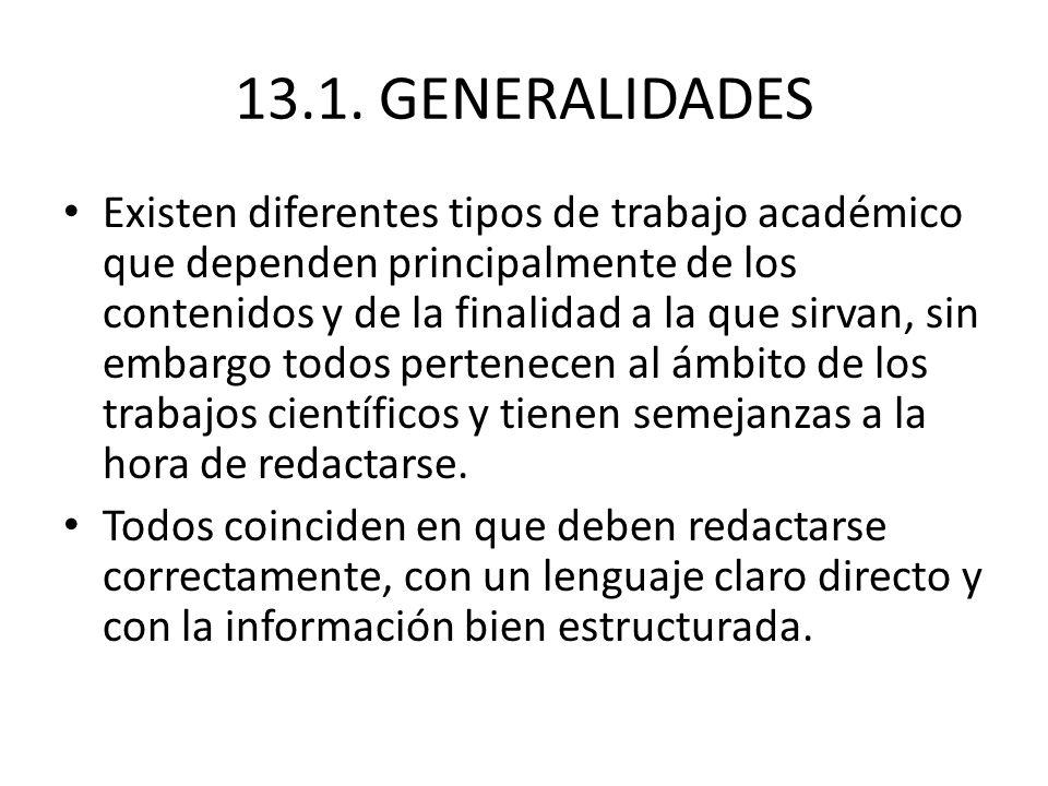 13.1. GENERALIDADES