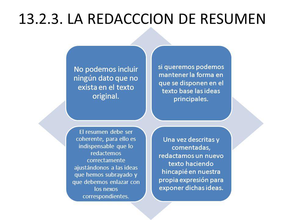 13.2.3. LA REDACCCION DE RESUMEN