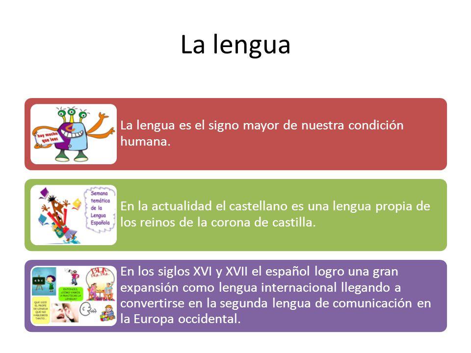 La lengua La lengua es el signo mayor de nuestra condición humana.