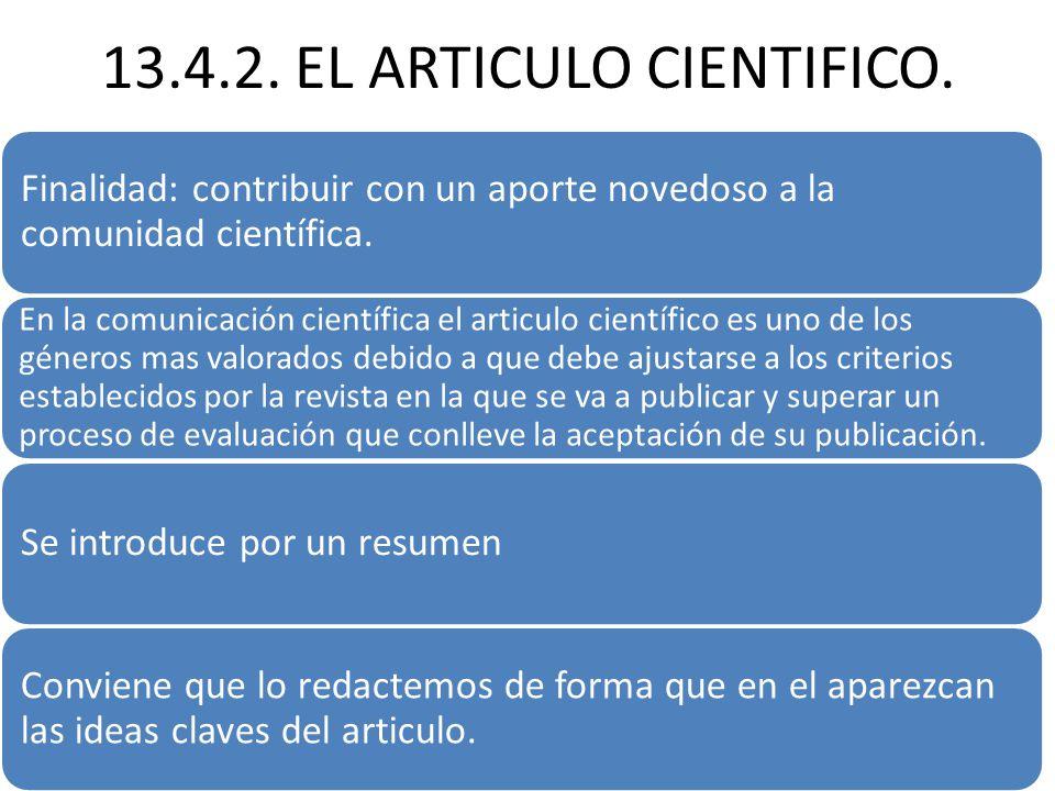 13.4.2. EL ARTICULO CIENTIFICO.