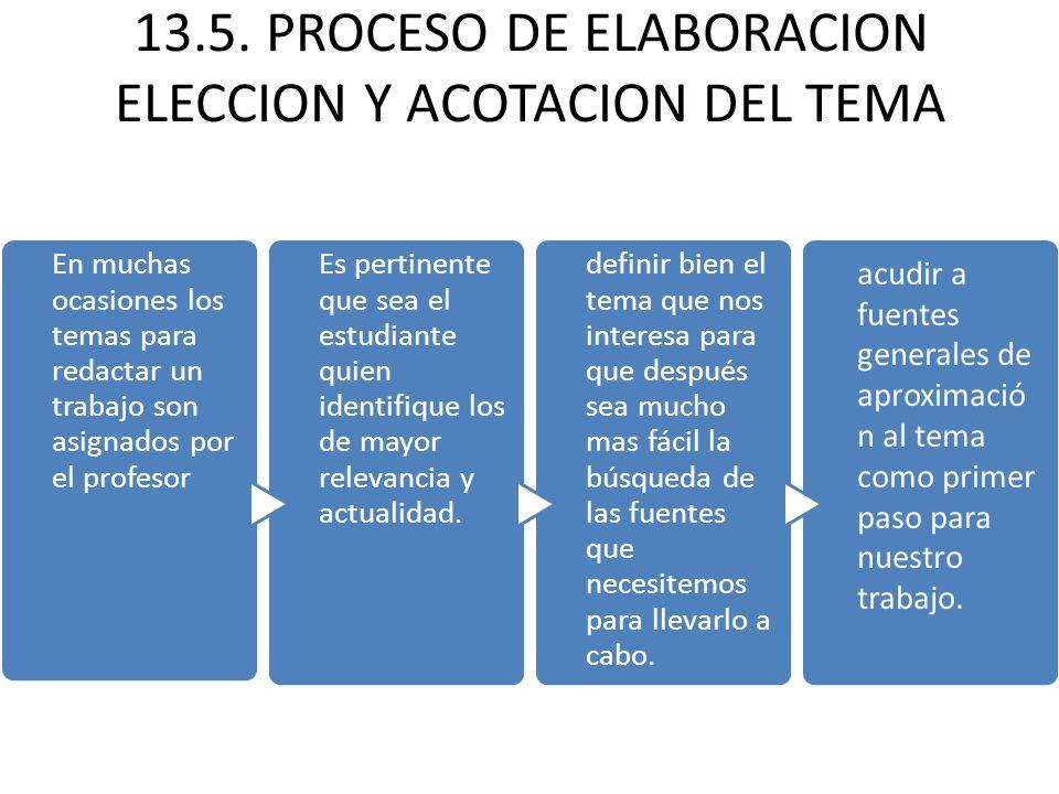 13.5. PROCESO DE ELABORACION ELECCION Y ACOTACION DEL TEMA