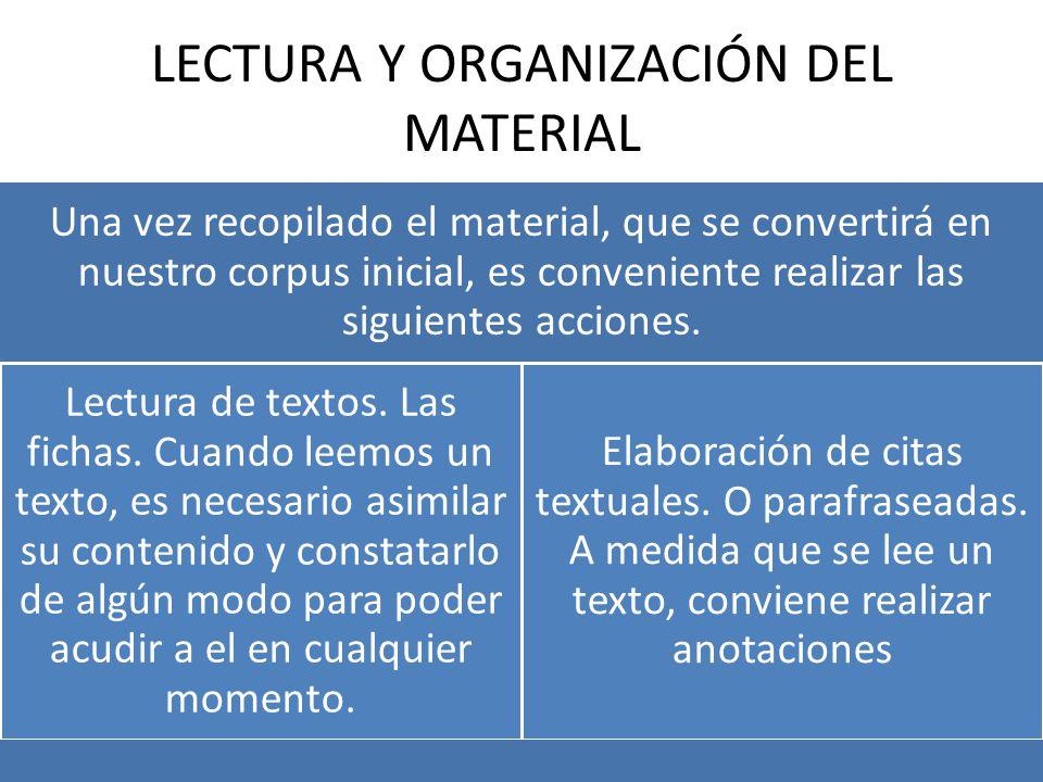 LECTURA Y ORGANIZACIÓN DEL MATERIAL