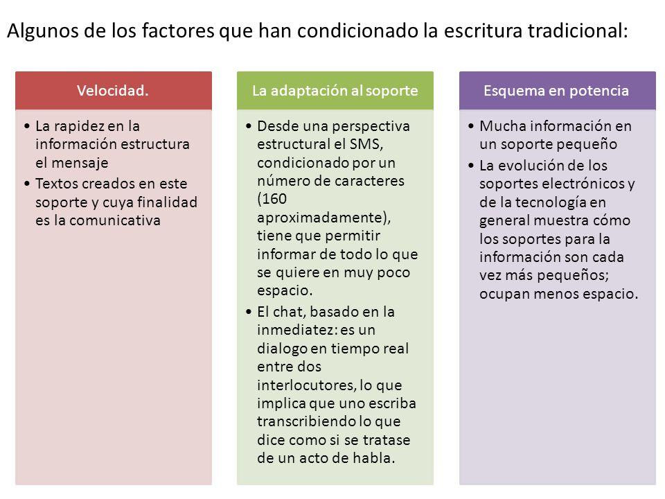 Algunos de los factores que han condicionado la escritura tradicional: