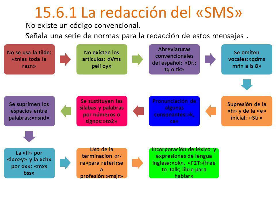 15.6.1 La redacción del «SMS» No existe un código convencional.