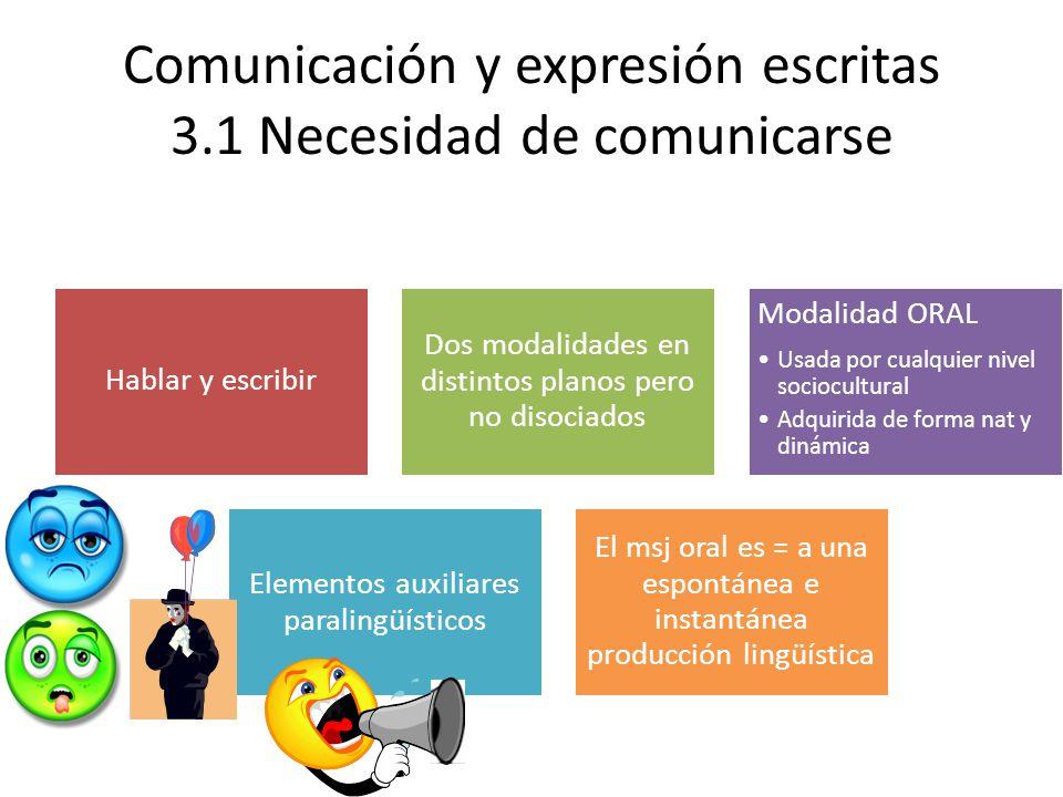 Comunicación y expresión escritas 3.1 Necesidad de comunicarse