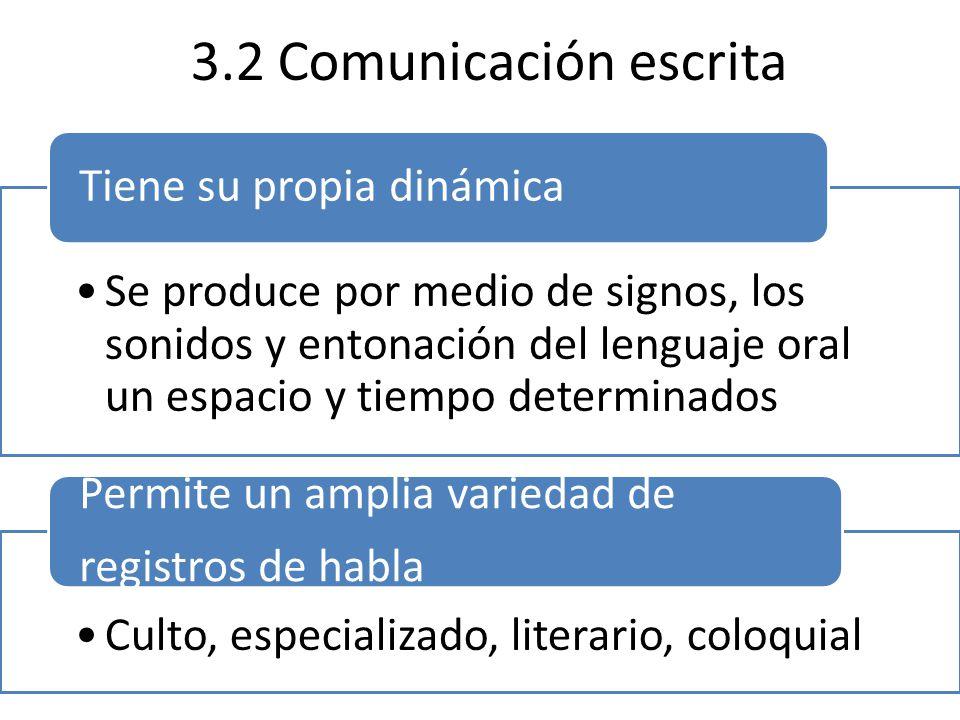 3.2 Comunicación escrita Tiene su propia dinámica