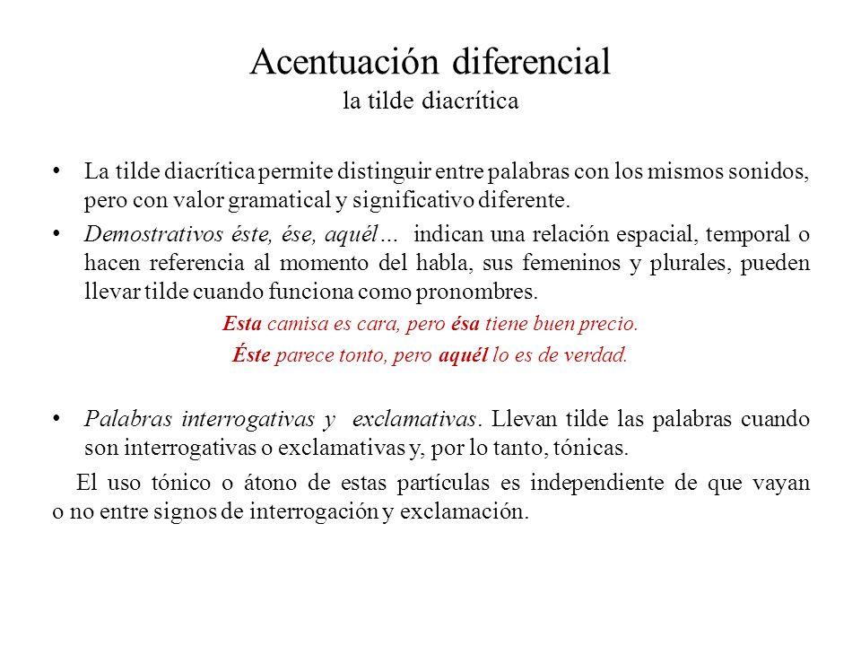 Acentuación diferencial la tilde diacrítica