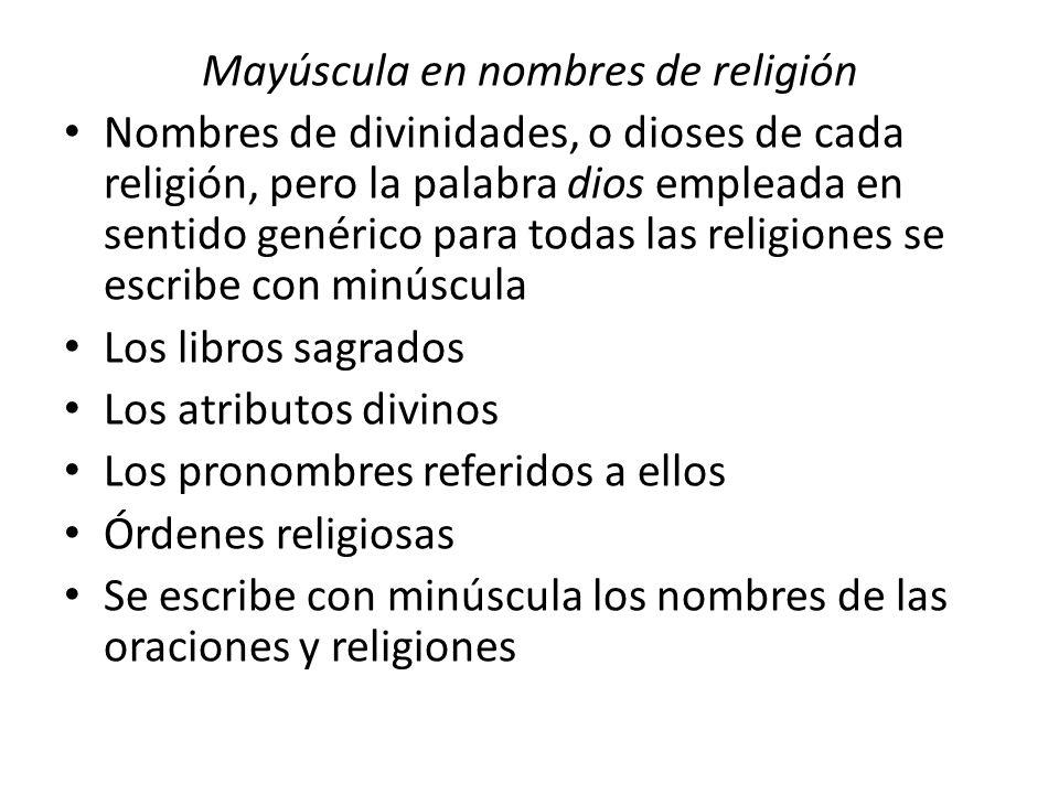 Mayúscula en nombres de religión