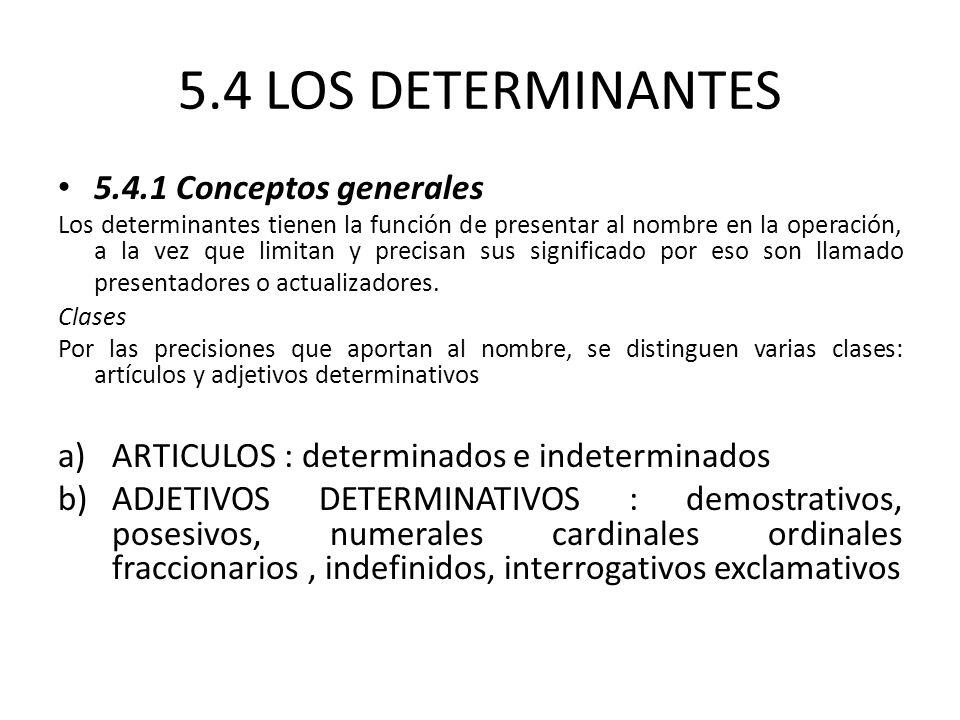5.4 LOS DETERMINANTES 5.4.1 Conceptos generales