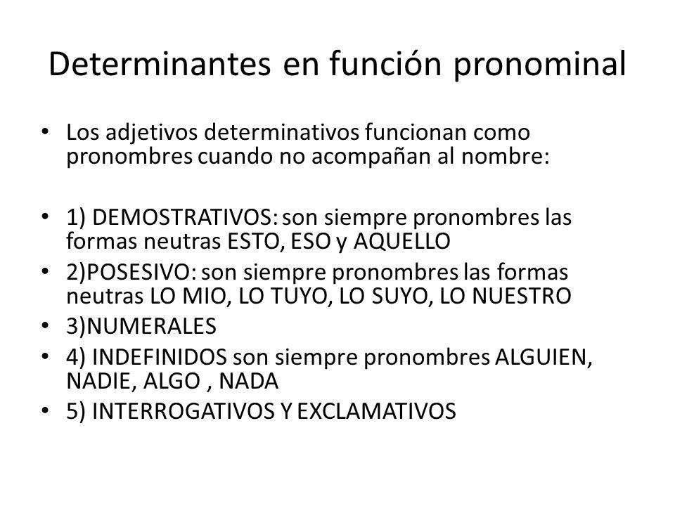 Determinantes en función pronominal