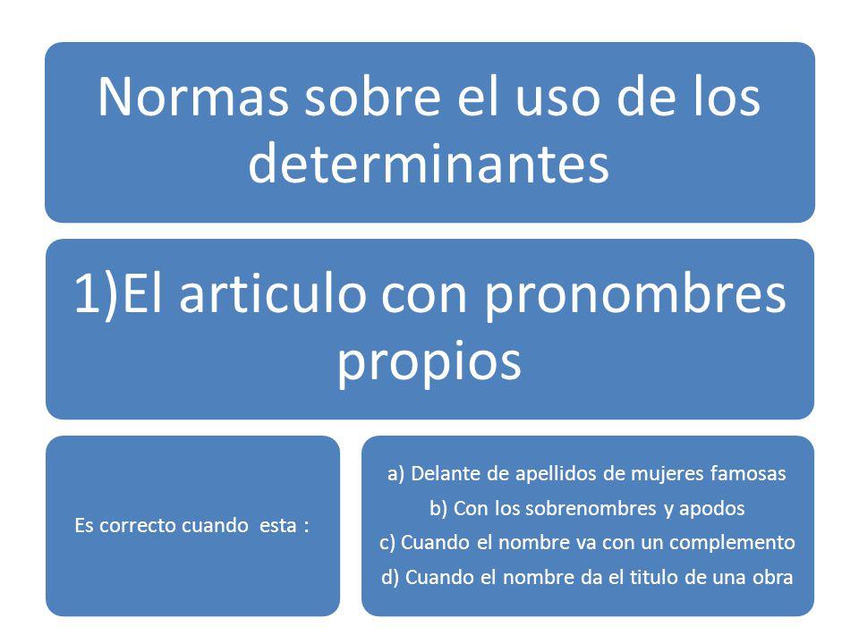 Normas sobre el uso de los determinantes