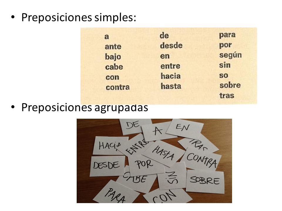 Preposiciones simples: