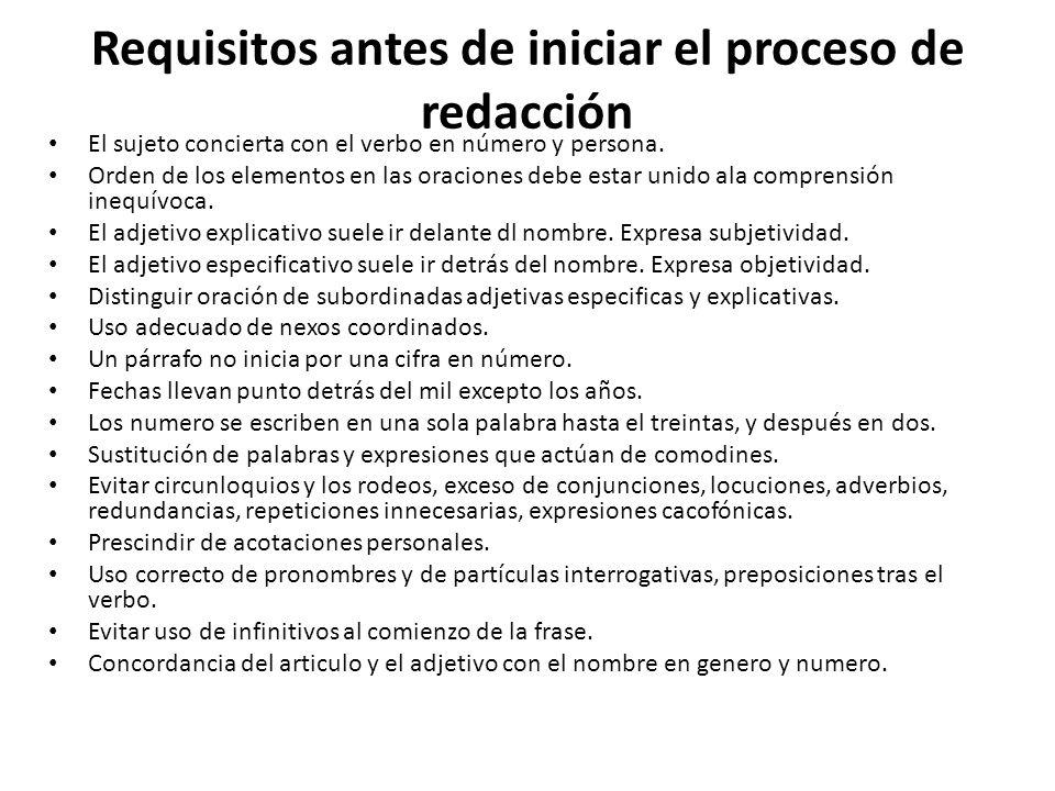 Requisitos antes de iniciar el proceso de redacción