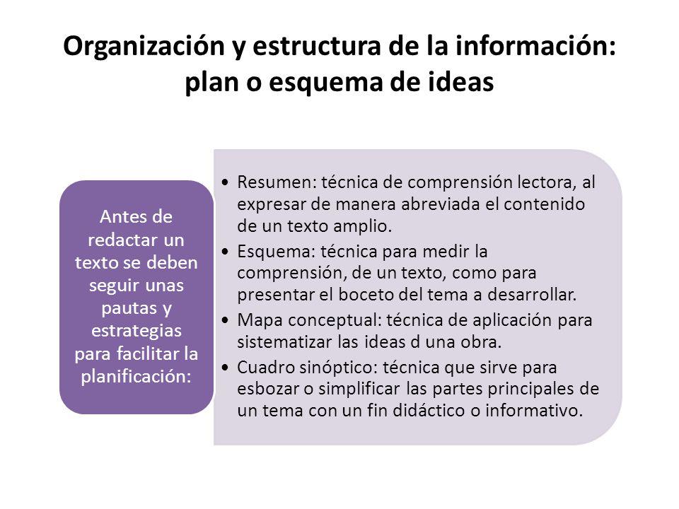 Organización y estructura de la información: plan o esquema de ideas