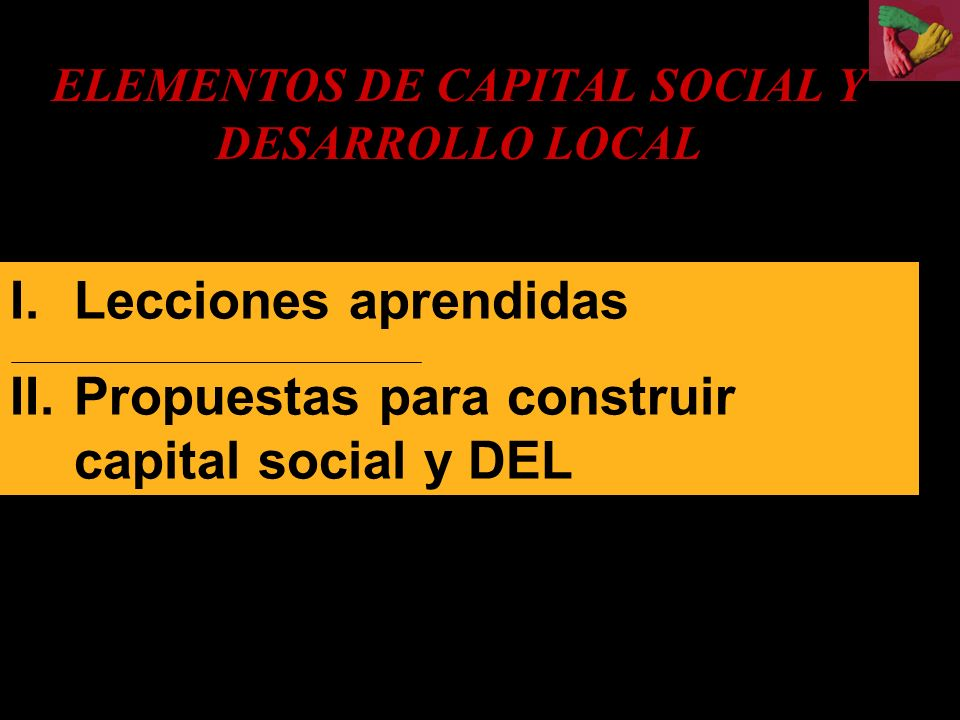 ELEMENTOS DE CAPITAL SOCIAL Y DESARROLLO LOCAL