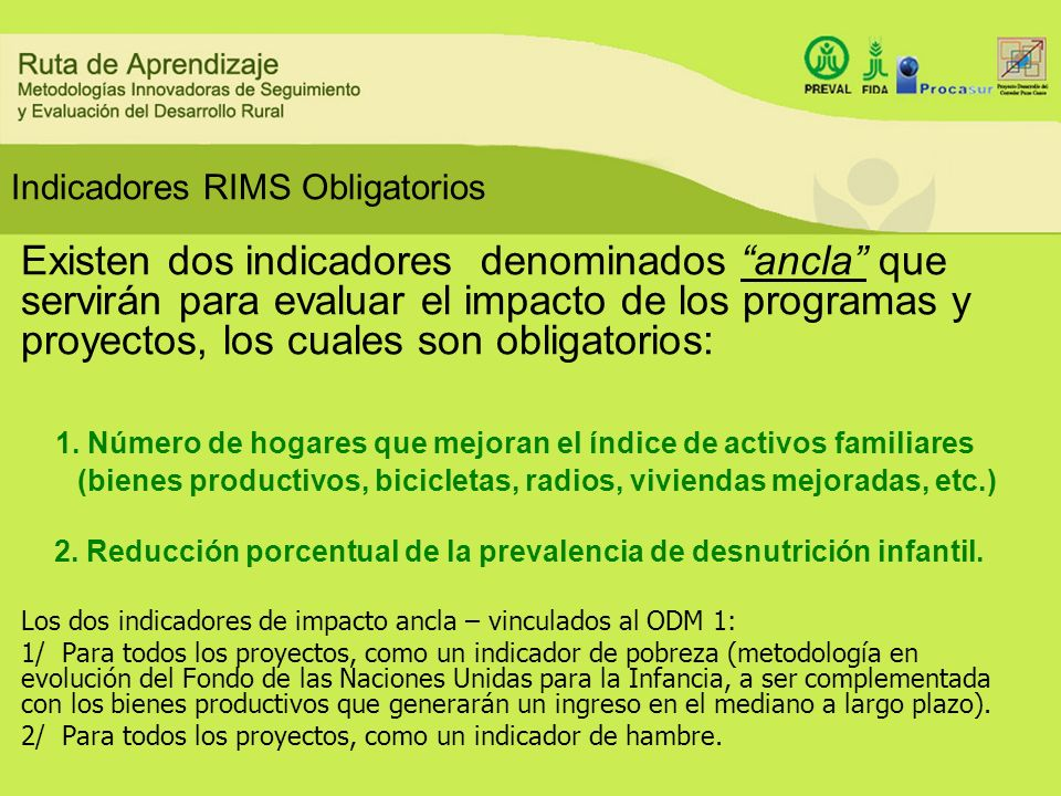 Indicadores RIMS Obligatorios