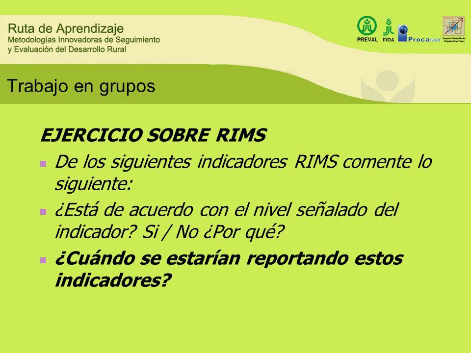 Trabajo en grupos EJERCICIO SOBRE RIMS. De los siguientes indicadores RIMS comente lo siguiente: