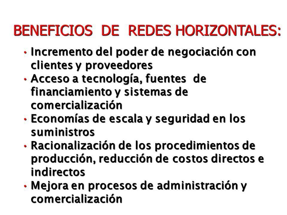 BENEFICIOS DE REDES HORIZONTALES: