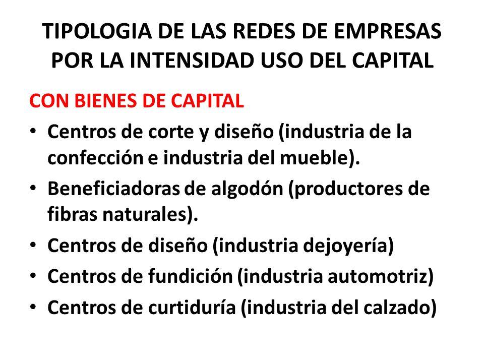 TIPOLOGIA DE LAS REDES DE EMPRESAS POR LA INTENSIDAD USO DEL CAPITAL