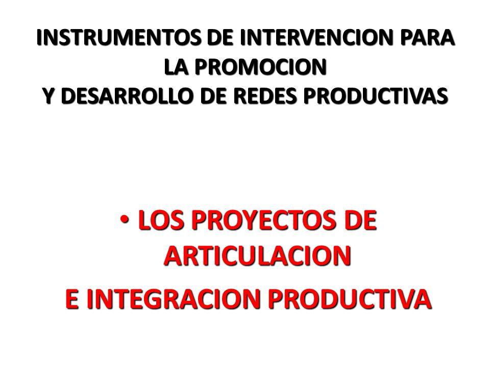 LOS PROYECTOS DE ARTICULACION E INTEGRACION PRODUCTIVA