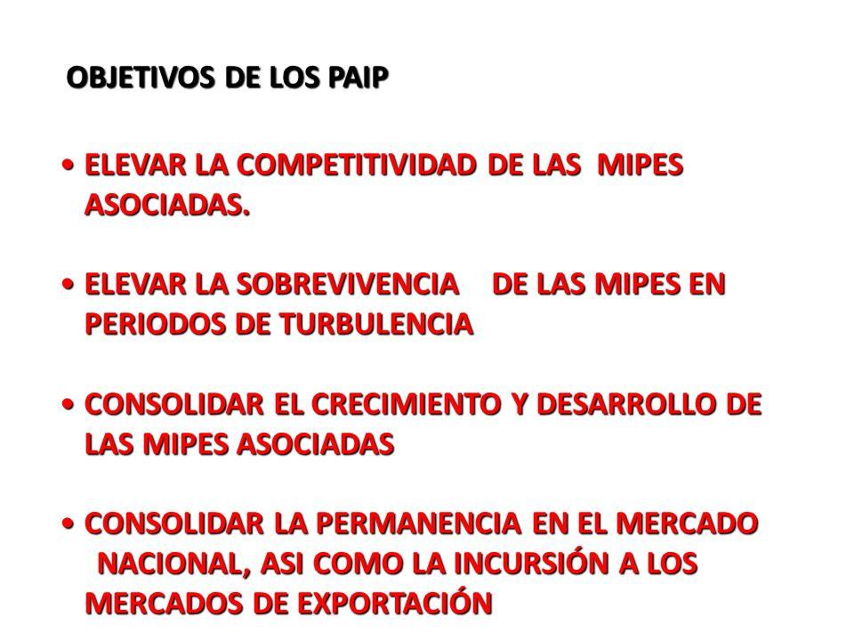 OBJETIVOS DE LOS PAIP ELEVAR LA COMPETITIVIDAD DE LAS MIPES ASOCIADAS. ELEVAR LA SOBREVIVENCIA DE LAS MIPES EN PERIODOS DE TURBULENCIA.
