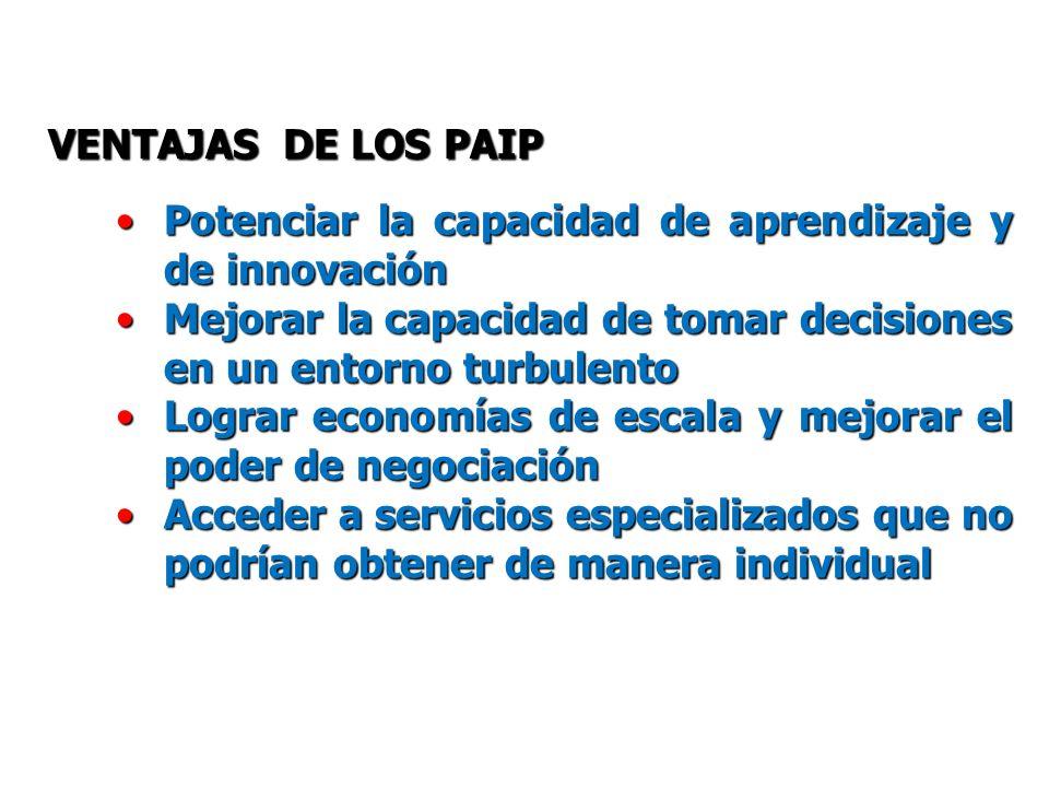 VENTAJAS DE LOS PAIP Potenciar la capacidad de aprendizaje y de innovación. Mejorar la capacidad de tomar decisiones en un entorno turbulento.