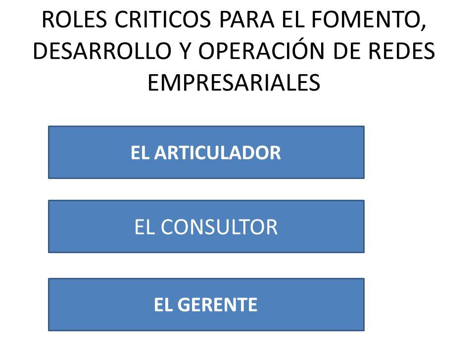 ROLES CRITICOS PARA EL FOMENTO, DESARROLLO Y OPERACIÓN DE REDES EMPRESARIALES