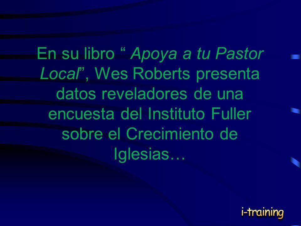 En su libro Apoya a tu Pastor Local , Wes Roberts presenta datos reveladores de una encuesta del Instituto Fuller sobre el Crecimiento de Iglesias…