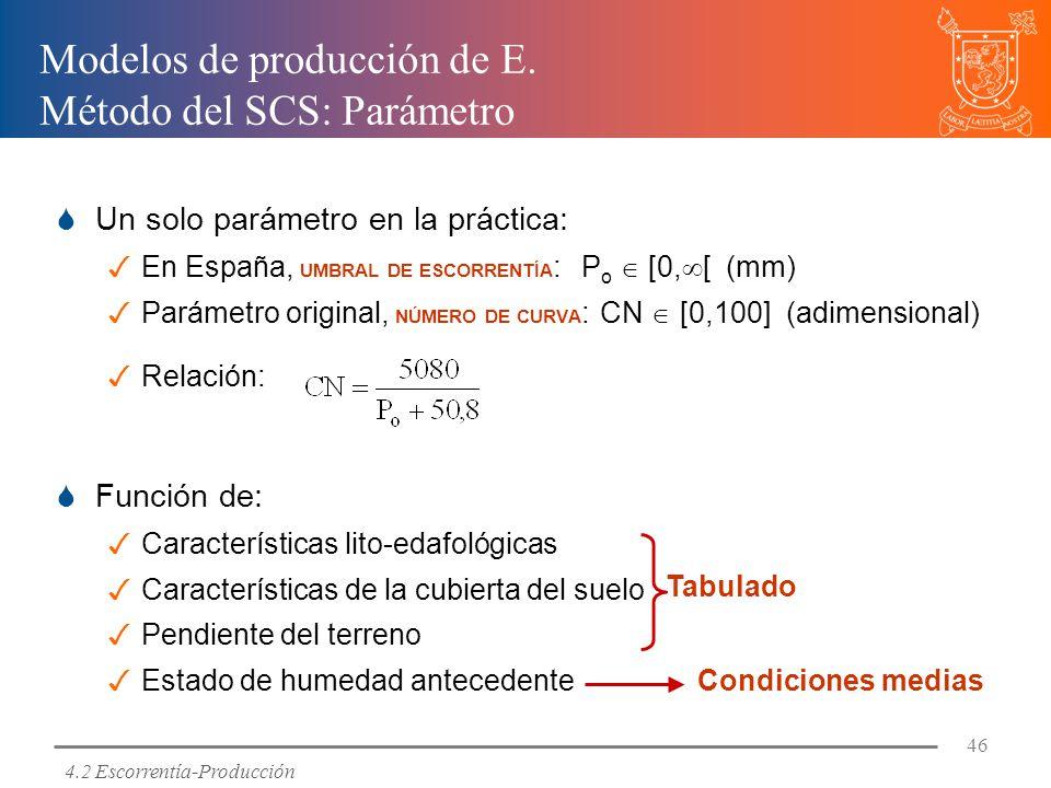 Modelos de producción de E. Método del SCS: Parámetro