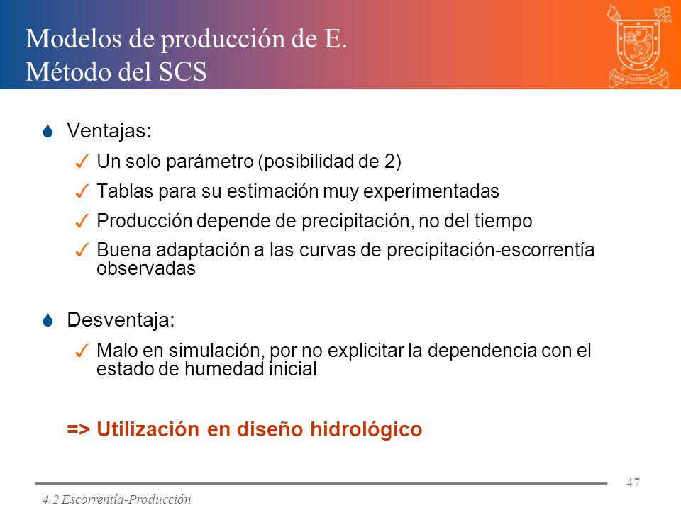 Modelos de producción de E. Método del SCS