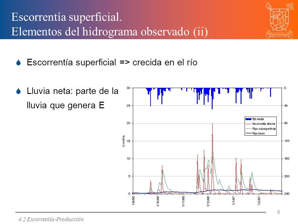 Escorrentía superficial. Elementos del hidrograma observado (ii)