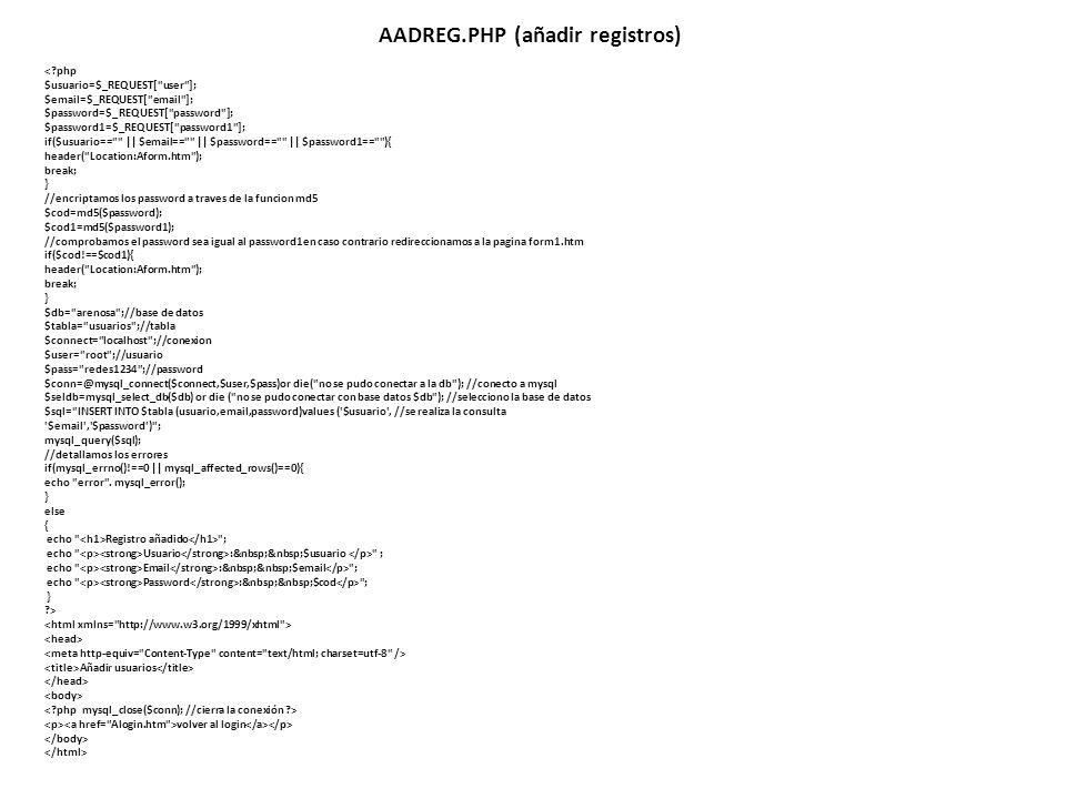 AADREG.PHP (añadir registros)
