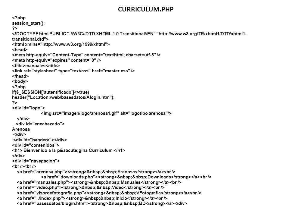 CURRICULUM.PHP < php session_start(); >