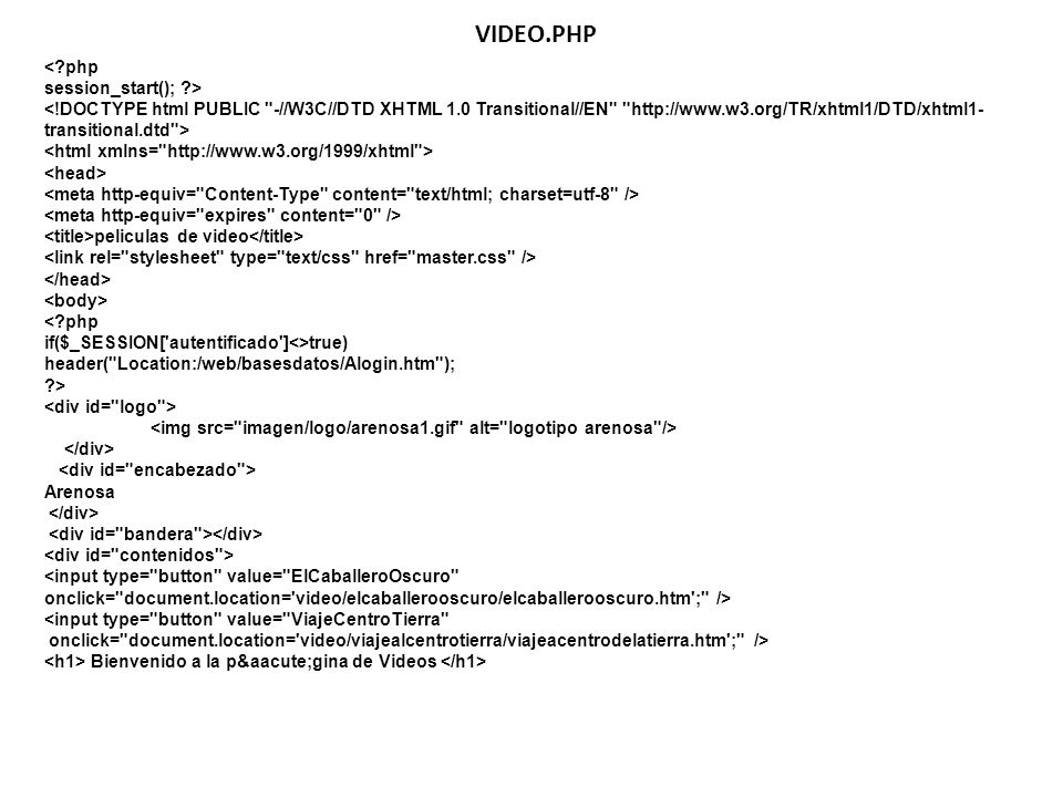 VIDEO.PHP < php session_start(); >
