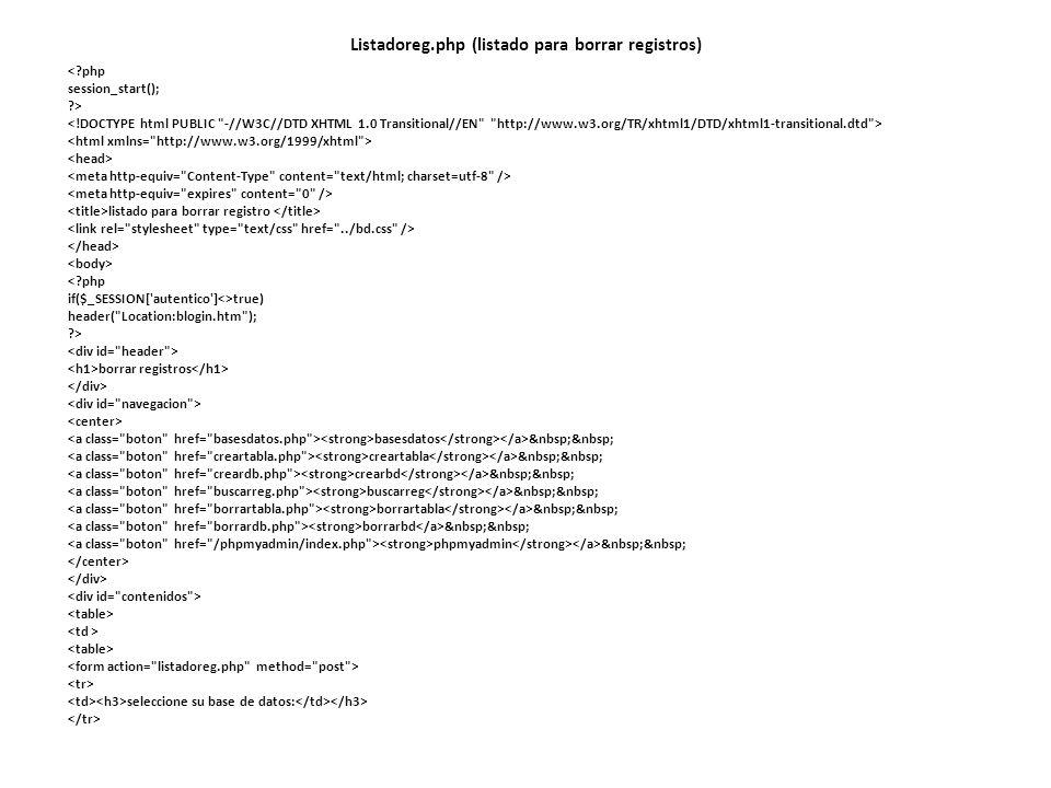 Listadoreg.php (listado para borrar registros)